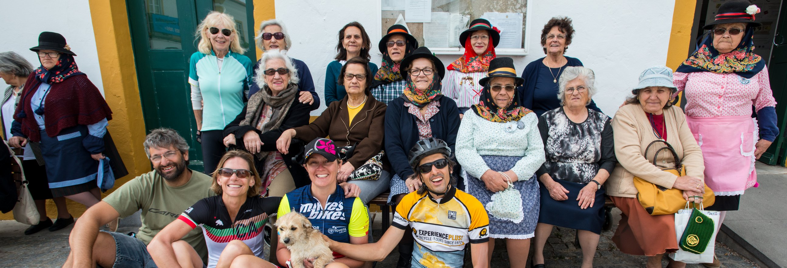Group meeting locals in Portugal on ExperiencePlus! Bike Tour - photo courtesy of traveler Steve Stroud