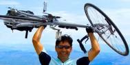 An ExperiencePlus! Bicycle Tour customer atop Mt Ventoux