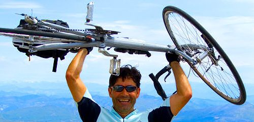 An ExperiencePlus! Bicycle Tour customer atop Mt Ventoux