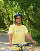 ExperiencePlus! customer Becca Austin on the Poudre bike trail.