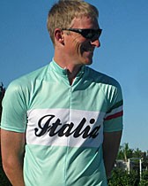 Spain Tour Leader, Rick Langford, models the new ExperiencePlus! Italia jersey