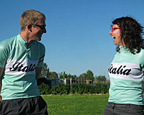 Tour Leaders, Rick Langford and Lisa Merighi, at the farm in their new ExperiencePlus! jerseys.