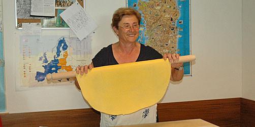 Pasta making demonstration.