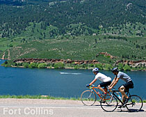 Cyclists ride around Horsetooth Resevoir. Image courtesy of the City of Ft. Collins