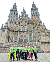 The group poses in Santiago at the end of the pilgrimage route