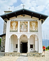 Teh exterior of the chapel of Madonna del Ghisallo