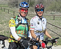 Cristina and ExperiencePlus! traveler Ole Lorenzetti on a ride near Fort Worth