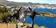 ExperiencePlus! tour leaders Philipp, Joan and Rick enjoy the Catalan coast.