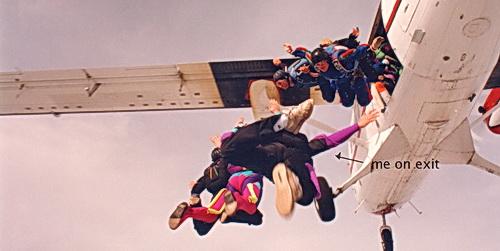 ExperiencePlus! traveler Shirley Mangione skydiving.