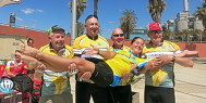 Montse in Catalonia with part of the 89er club - 5 riders who have done 89 trips with ExperiencePlus