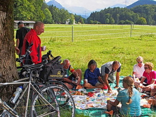 Picnic on the border of Germany and Austria