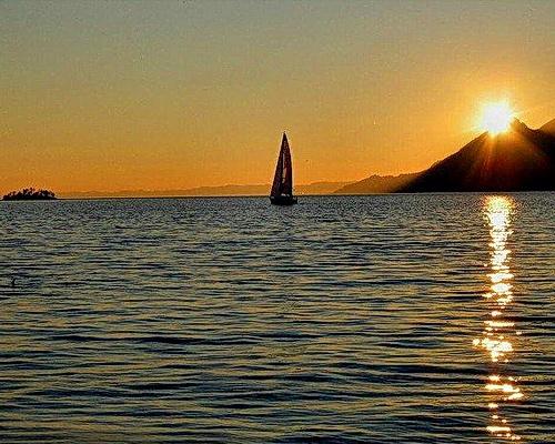 Sunset sailing on Lake Garda.