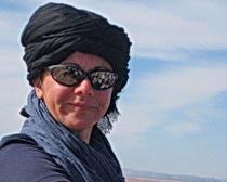 Michela trekking in the desert.