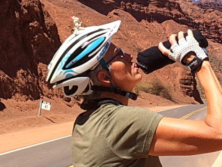 Julie enjoys cold water cycling in Northern Argentina