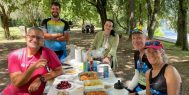ExperiencePlus! travelers enjoy a picnic on the Portuguese Camino